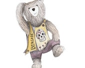 Exercise Bear Greeting Card - blank inside- by Catherine Redgate - zumba - keep fit - gym - fun - cute get well soon happy positive dance