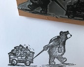 """FIREFLY CART BEAR 3"""" wooden rubber stamper Catherine Redgate scrapbooking bujo craft stamp stamping positivity deliver post teddy adventure"""