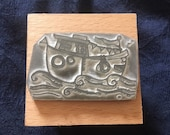 """Illustrated BOAT ship - 2"""" wooden rubber stamper- by Catherine Redgate - coast - coastal - sea - seafaring"""