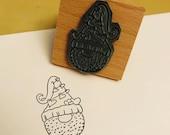 "VALENTINE love GNOME wooden rubber stamper 2"" Catherine Redgate cute stamp stationery gift tomte nisse gock heart valentines day valentine"