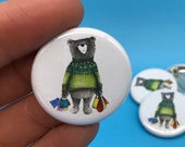 Shopaholic Shopping Bear - 32mm button badge - illustrated cute gift fun shopper birthday -  by Catherine Redgate