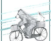 Bear & Bunny riding a bike Greeting Card - blank inside- by Catherine Redgate illustration bicycle cycling cycle exercise couple cute love