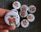 Heart OTTER 32mm button badge Catherine Redgate retro pin metal illustrated positivity adventure happy cute otters valentines anniversary