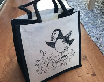 PUFFIN and fish JUCO jute cotton shopper shopping bag Catherine Redgate quirky eco reuse environmentally friendly shop carry storage bird