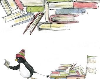 BOOK LOVER penguin books card illustration illustrated Greeting Card blank inside Catherine Redgate university study journey teach library