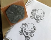 """BUSY OCTOPUS - wooden rubber stamper - 2""""- by Catherine Redgate - stamping scrapbooking craft stamp letter mail post ink list bujo quill"""