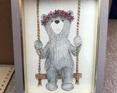 SWING BEAR original framed illustration Catherine Redgate art drawing watercolour painting teddy happy positivity hippie garland flower cute