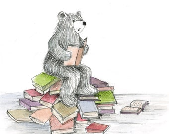 BOOK LOVER bear READING card - illustration illustrated Greeting Card - blank inside- by Catherine Redgate - university study school teacher
