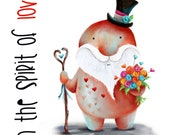 LOVE SPIRIT Valentine's Day Card blank Catherine Redgate friend valentine guardian couple thinking of you sympathy gentleman top hat rose