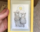 HAPPY THOUGHTS BEARS original framed illustration Catherine Redgate art drawing watercolour painting teddy cute best friend bear emoji smile
