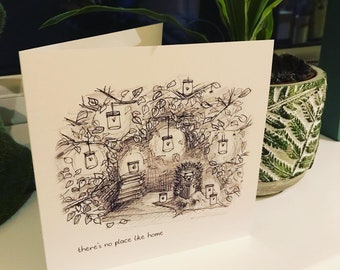 Hedgehog Home Greeting Card blank Catherine Redgate read new home illustration firefly story book birthday chill relax cosy no place like