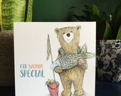 SALMON SPECIAL fishing BEAR Greeting Card blank inside Catherine Redgate Scotland Scottish fishing funny humour pun fathers day birthday