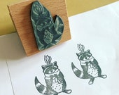 """INDIAN RACCOON wooden rubber stamper - 2""""- by Catherine Redgate - cute stamp stationery letter penpal writing gift decor trash panda"""