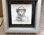 HEADPHONES BEAR original framed illustration Catherine Redgate art drawing watercolour painting teddy happy positivity productive office