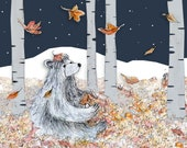 Forest Night Bear Greeting Illustration Art Card - blank inside- by Catherine Redgate autumn magical positive get well soon sympathy whimsy