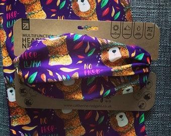 No PROBLLAMA LLAMA headwear RECYCLED hairband head band biking walking hike Catherine Redgate gift scarf positivity pun alpaca purple hippy