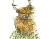 Windy Heelan Coo Greeting Card blank inside- by Catherine Redgate Highland Cow Scotland Scottish windswept funny humour wild birthday happy