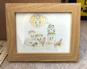 OATS BEAR original framed illustration Catherine Redgate art drawing watercolour painting teddy farmer chickens hen hens chicken farm cute