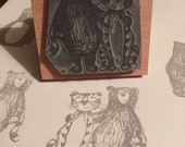 """Bear / Tiger - 2"""" wooden rubber stamper- by Catherine Redgate"""