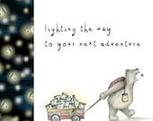 FIREFLY BEAR CART adventure card - illustration illustrated Greeting Card - blank inside Catherine Redgate - cute journey travel positive
