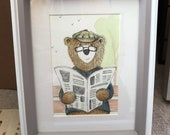GRANDPA newspaper BEAR original framed illustration Catherine Redgate art drawing watercolour father's day painting teddy draw park read