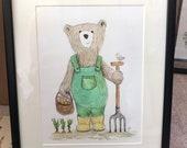 GARDENING BEAR original framed illustration Catherine Redgate art drawing watercolour painting teddy allotment outdoors gardener gift garden