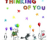 Thinking of You - Greeting Illustration Art Card - blank inside by Catherine Redgate - Covid RAINBOW parade sympathy love family thank you