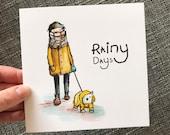RAINY DAYS Greeting Card blank Catherine Redgate illustration dog walker character cold scottish winter rain scottie mac raining weather
