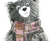 WIZARD BEAR close up card - illustration illustrated Greeting Card - blank inside- by Catherine Redgate - geek magic wand scarf