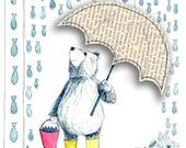 Raining Fish Greeting Card - blank inside- by Catherine Redgate BEAR umbrella wellies get well soon sympathy fun rainy day fishing whimsical