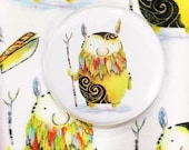 TRIBAL BIRD SPIRIT 32mm button pin badge Catherine Redgate guardian whimsical quirky art gnome nature beard flight tattoo tribe bearded cute
