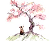 Cherry Tree Fox Greeting Card - blank inside- by Catherine Redgate sakura japan japanese woodland illustration whimsical quirky sympathy