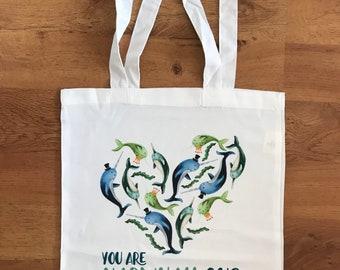 Marvellous NARWHAL TOTE bag shop cute shopper shoulder Scottish Catherine redgate illustration heart love ocean narwhallous unicorn whale