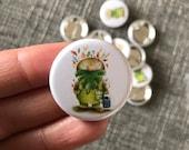GARDEN GUARDIAN SPIRIT 32mm button badge - gnome illustrated cute  Catherine Redgate gardener beard gock flower seed plant grow gardening