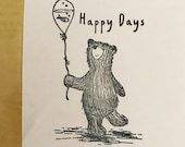 """HAPPY DAYS BEAR 3"""" wooden rubber stamper Catherine Redgate scrapbooking bujo craft stamp stamping fish bowl balloon positivity"""