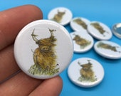 Heelan Coo - 32mm button badge - Scotland Scottish Highland Cow animal illustrated cute farm-tourist  by Catherine Redgate