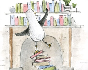 BOOK LOVER seagull card illustration illustrated Greeting Card blank inside Catherine Redgate university study journey read reading school