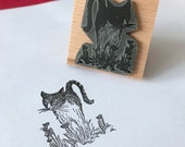 """Inquisitive KITTY - 2"""" wooden rubber stamper Catherine Redgate - Scotland Scottish pet cat cute flower poppy stamp positive adventure proud"""