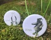 Keep Calm and Carry On Skating - Roller Derby skating bear or seagull - 32mm button badge - two types!- by Catherine Redgate