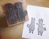 """ALPACA LLAMA 2 for 1 - wooden rubber stamper - 3"""" by Catherine Redgate - cute adventure aztec hat fluffy fun post stationery stamp"""