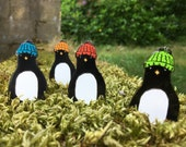 Large PENGUIN hard enamel pin badge with WOOLY hat- by Catherine Redgate