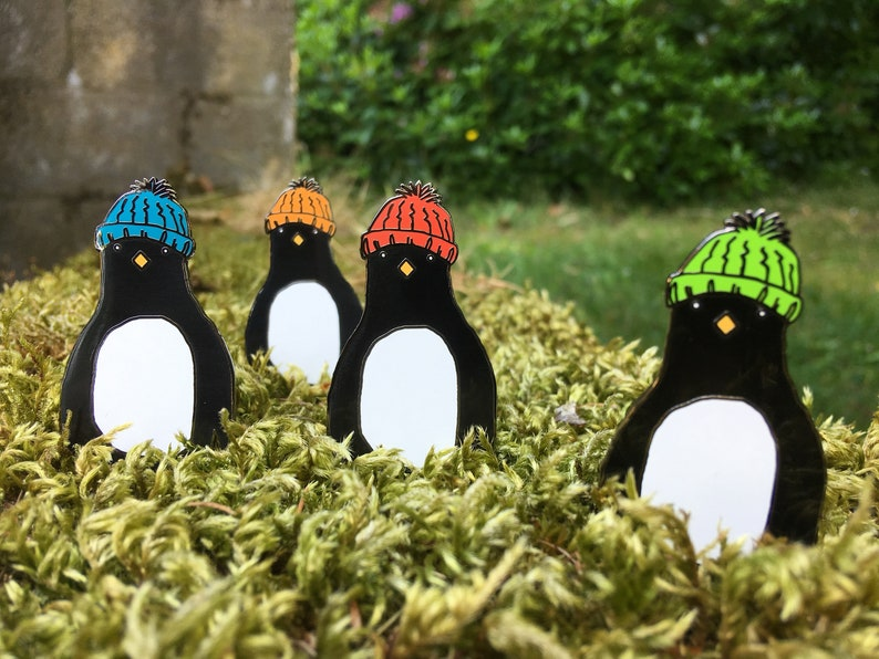 Large PENGUIN hard enamel pin badge with WOOLY hat by image 0