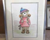 HIKER BEAR original framed illustration Catherine Redgate art drawing watercolour painting teddy father's day walker walk hike outdoors cute