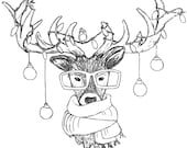 """XMAS STAG wooden rubber stamper 3"""" Catherine Redgate Scottish animal Christmas hat Santa scarf scottish stamp wrapping bauble stags deer"""