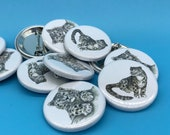 Snow Leopard 32mm button badge - pin  - by Catherine Redgate - cat wild animal leopards spots