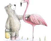 FLAMINGO FRIENDS Greeting Card - blank inside- by Catherine Redgate - illustration pink bird bear relationship couple friend