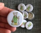 Gardener Bear 32mm button badge Catherine Redgate retro pin metal illustrated positivity gardening adventure happy cute garden farmer farm