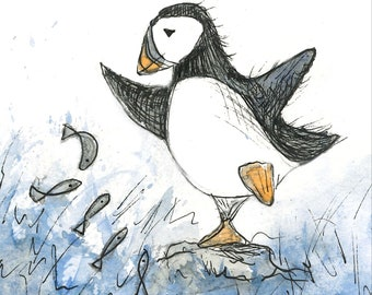 Puffin & Fish Greeting Card - blank inside- by Catherine Redgate - Scottish coast bird wildlife cute windy funny whimsical sea ocean male