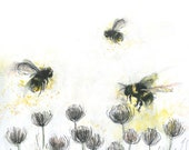 Painted BUSY BEES Greeting Illustration Art Card blank inside Catherine Redgate bee flora fauna garden nature outside happy positive health