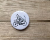 Bear & Bike - 32mm button badge- by Catherine Redgate